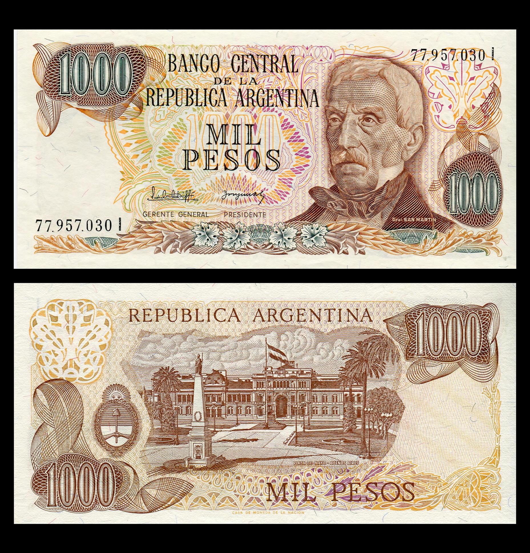 Billete Argentina 1000...